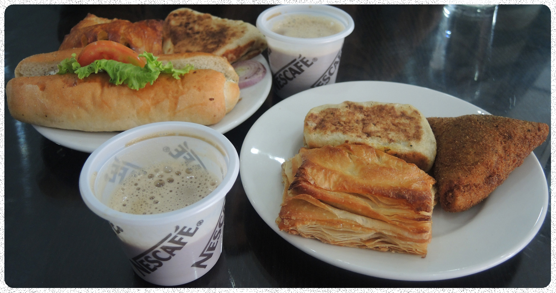 Sri Lankan Breakfast - salty pastries with Nescoffee ;-)