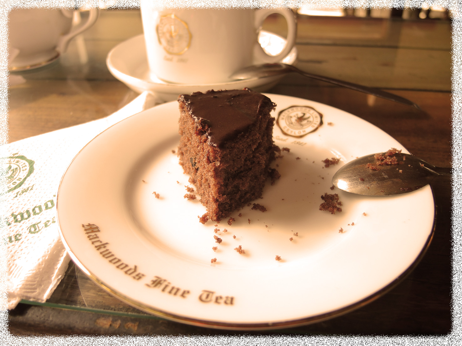 tea and chocolate cake