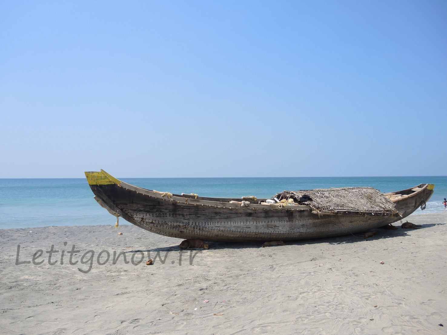 Fishermen boat on the beach, Kerala, India